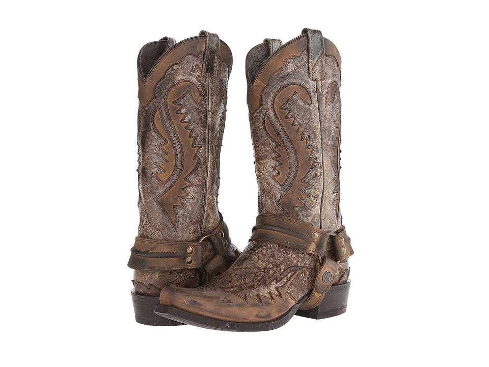 Stetson - Snip Toe Harness Boot (Brown Crackle) Cowboy Boots