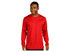 @Nike Legend Dri FIT Poly L S Crew Top Gym Red Carbon Heather Cool Grey Apparel Shirts Tops 377780 606