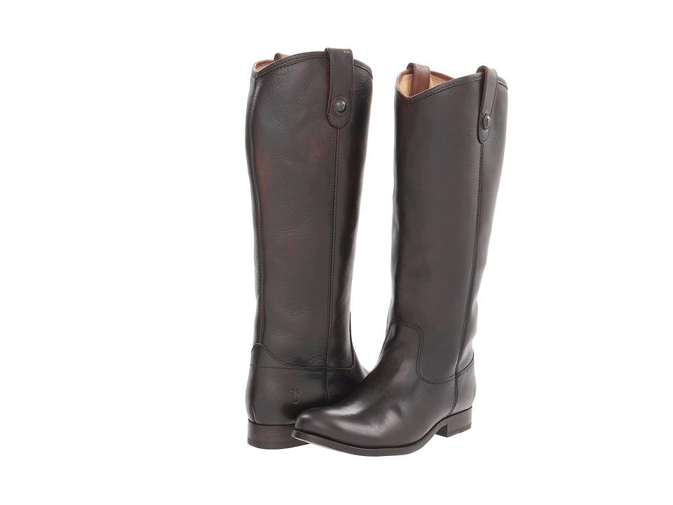 Frye Melissa Button (Dark Brown Brush Off) Cowboy Boots