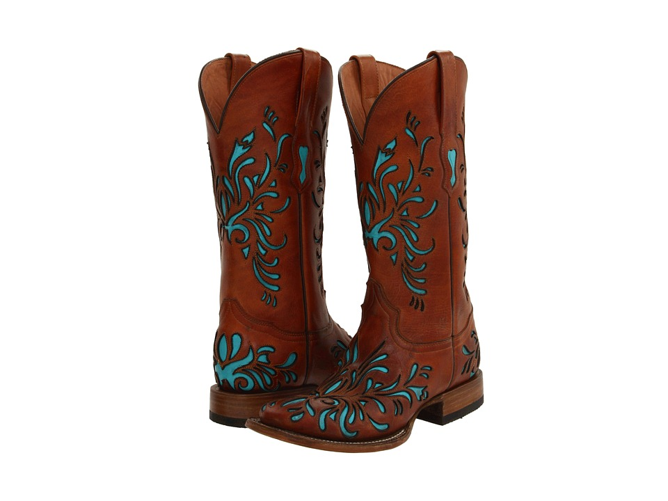 Stetson 12-021-8801-0616 (Burnished/Turquoise) Cowboy Boots