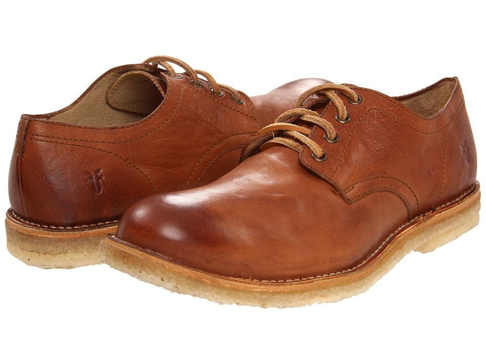 Frye - Hudson Oxford Cognac Tumbled Full Grain Mens Lace up casual Shoes $258.00 AT vintagedancer.com