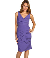 Nicole Miller - Satin Crepe V-Neck Pleated Dress