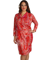 Jones New York - Plus Size Animal Print 3/4 Sleeve Wrap Dress