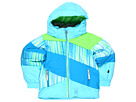 Spyder Kids - Bitsy Duffy Puff Jacket (Toddler/Little Kids/Big Kids) (Coast Speedlines/Green Flash/Coast) - Apparel