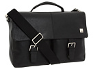 KNOMO London Jackson Top Handle Laptop Briefcase (Black Leather)