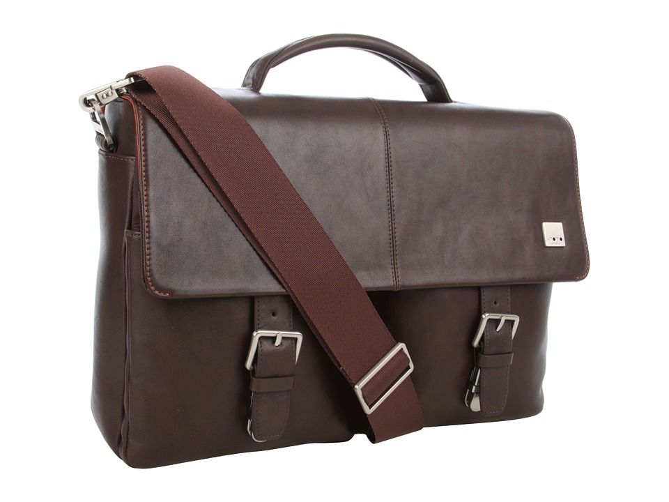 KNOMO London - Jackson Top Handle Laptop Briefcase (Brown Leather) Briefcase Bags