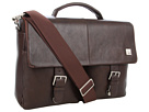 KNOMO London Jackson Top Handle Laptop Briefcase (Brown Leather)