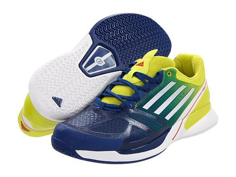 adidas - adizero Feather II (Dark Blue/Running White/Lab Lime) - Footwear