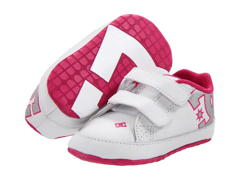 DC Kids - Court Graffik Crib (Infant) (White/Pink) Girls Shoes