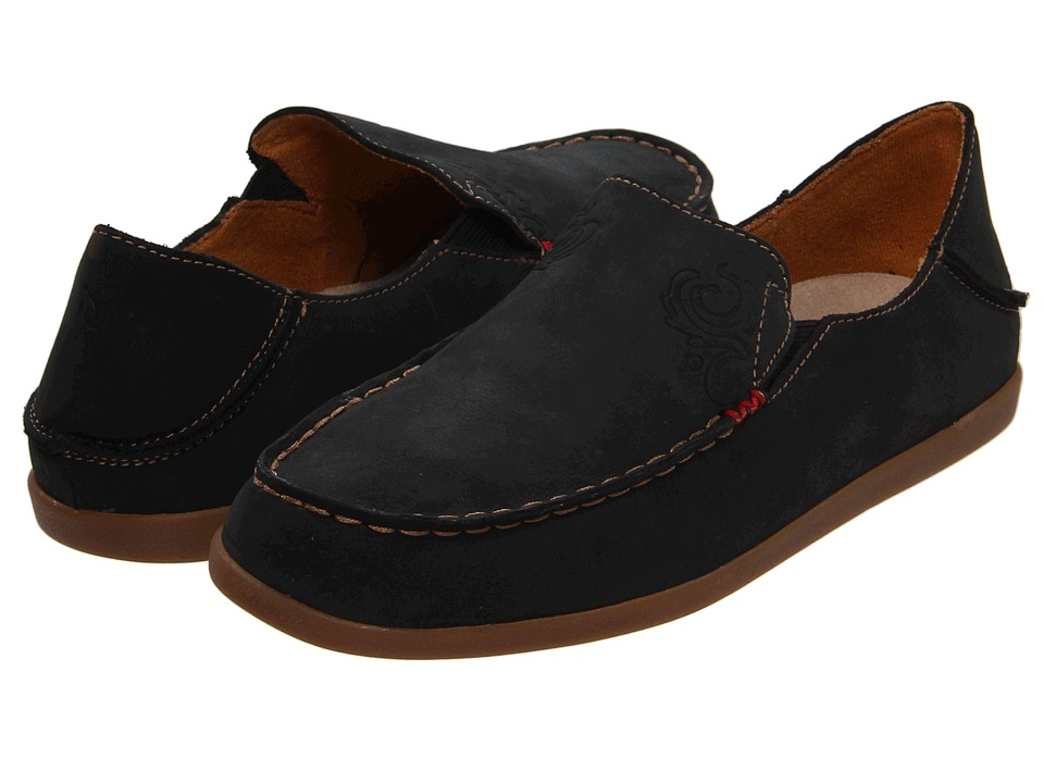 OluKai Nohea Nubuck (Black/Tan) Slip-On Shoes