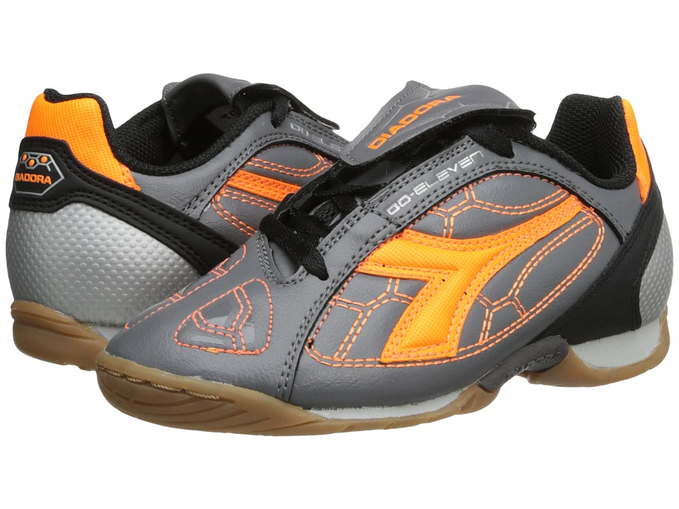 Diadora Kids DD Eleven ID Jr Soccer Toddler/Little Kid/Big Kid Smoked Pearl/Orange Flame Kids Shoes