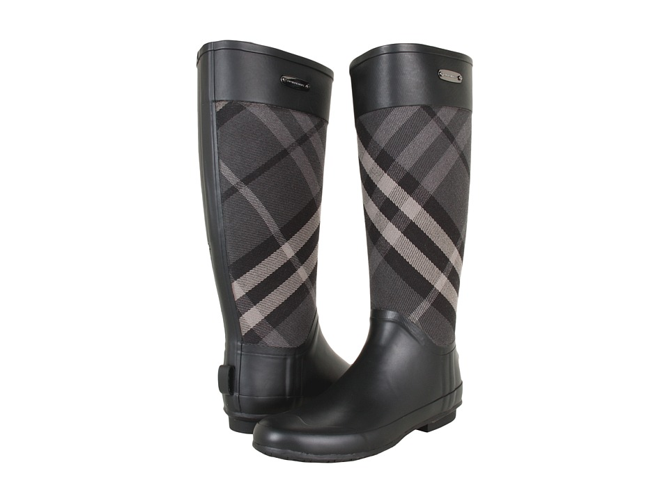Burberry - Check Panel Rainboots (Charcoal) Women
