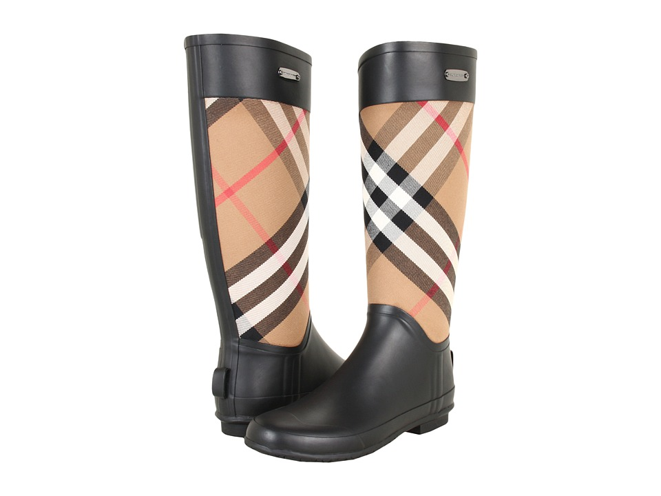 Burberry - Check Panel Rainboots (House Check) Womens Rain Boots