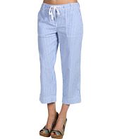 Jones New York - Cropped Cargo Stripe Stretch Cotton Pant With Drawstring
