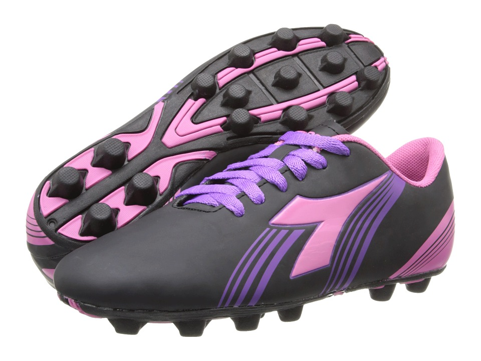 Diadora Kids Avanti MD Jr Soccer Toddler/Little Kid/Big Kid Black/Pink Kids Shoes