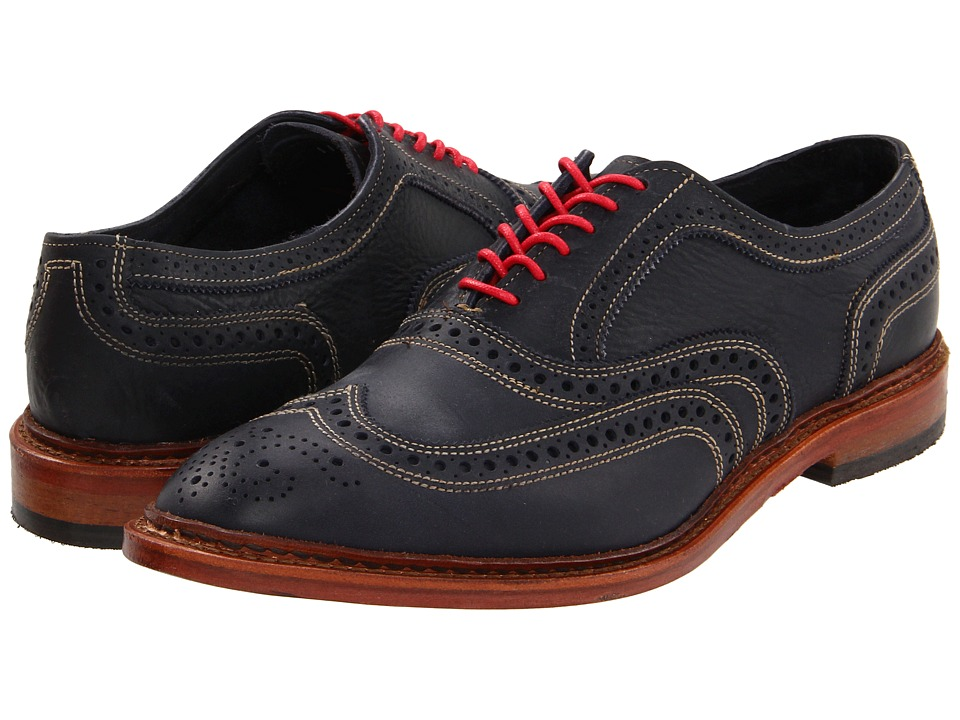 Allen Edmonds Neumok Blue Leather Mens Lace Up Wing Tip Shoes