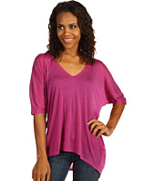 Three Dots - 1/2 Sleeve V-Neck Draped Top