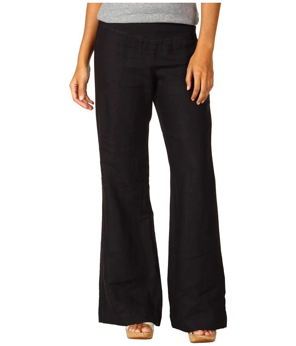 Three Dots Long Flare Linen Pant (Black) Women