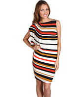 Muse - Pleated One Shoulder Striped Sheath Dress