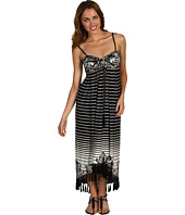 Muse - Strapless Stripe Tassel Hem Dress