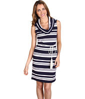 Muse - Nautical Cowl Neck Tassel Belt Dress