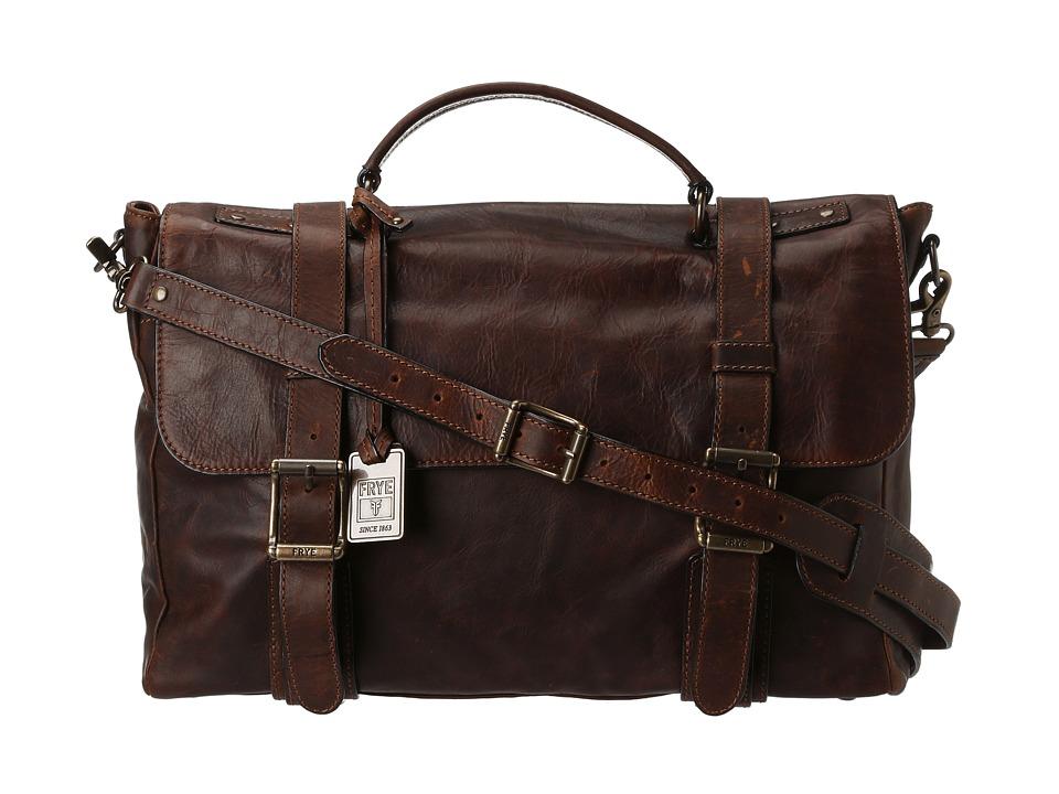 Frye Logan Flap Brief Case (Dark Brown Antique Pull Up) Briefcase Bags