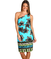 Muse - One Shoulder Hawaiian Print Sheath Dress