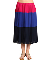 DKNYC - Pleated Colorblock Mid Length Skirt