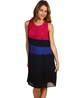 DKNYC - Sleeveless Colorblock Pleated Dress