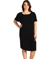 DKNYC - Plus Size S/S Dress With Pleated Front