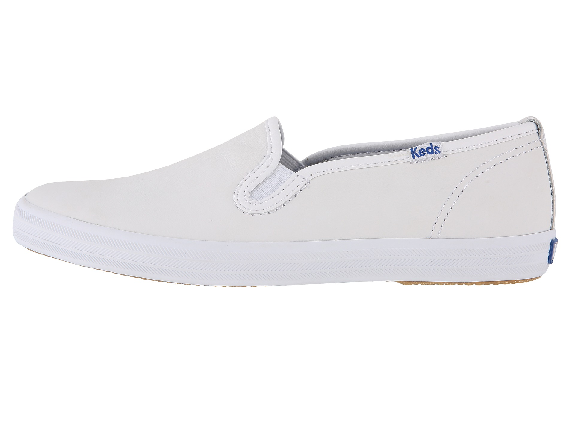 keds white leather slip on