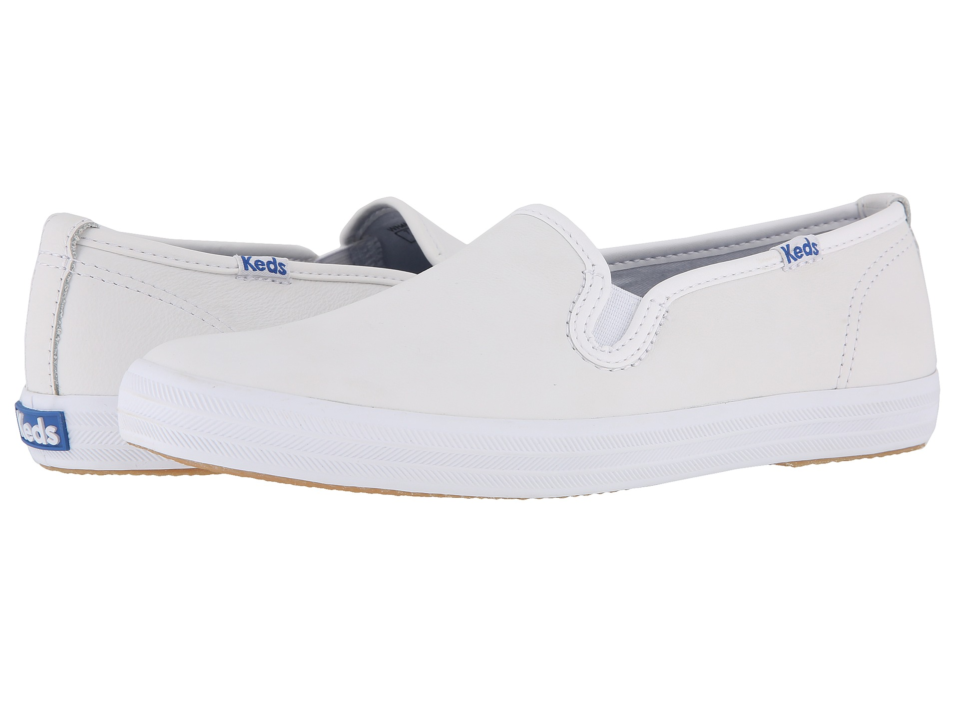 white leather slip on keds