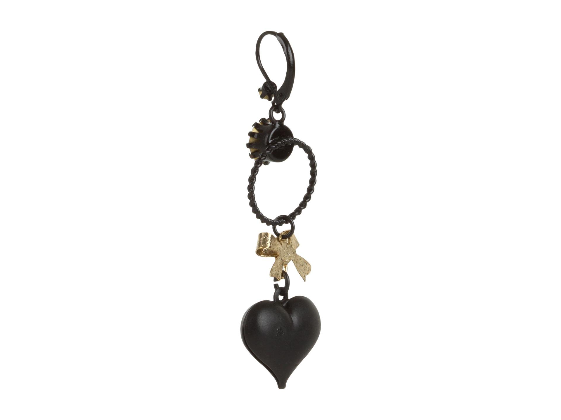 Betsey Johnson Heart/ Bow Drop Earrings - Zappos.com Free ...