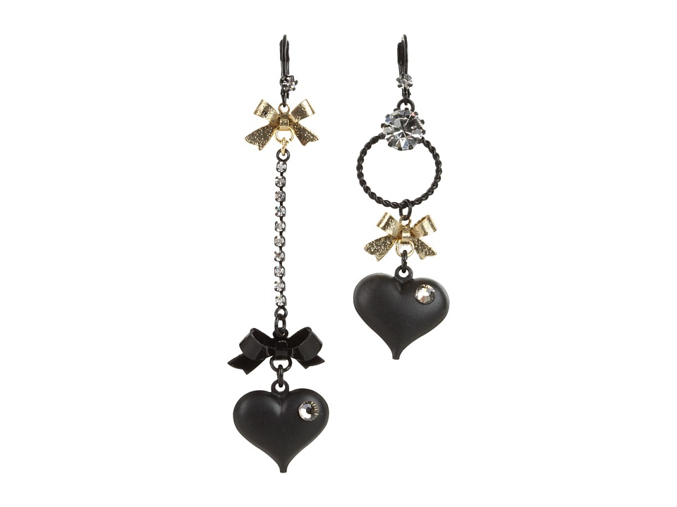 Betsey Johnson - Heart/ Bow Drop Earrings (Black) Earring