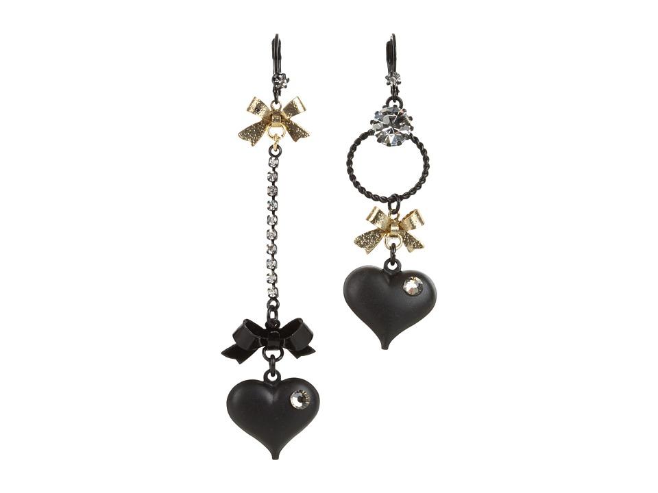 Betsey Johnson - Heart/ Bow Drop Earrings