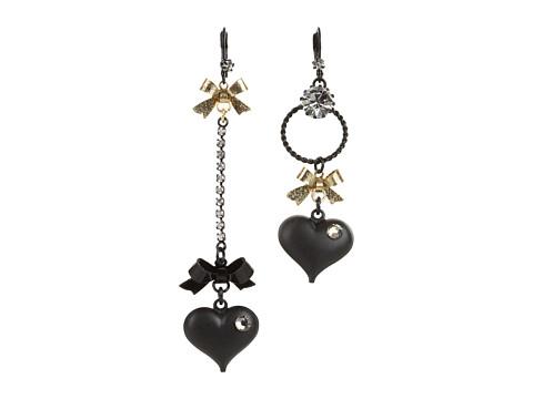 Betsey Johnson Heart/ Bow Drop Earrings