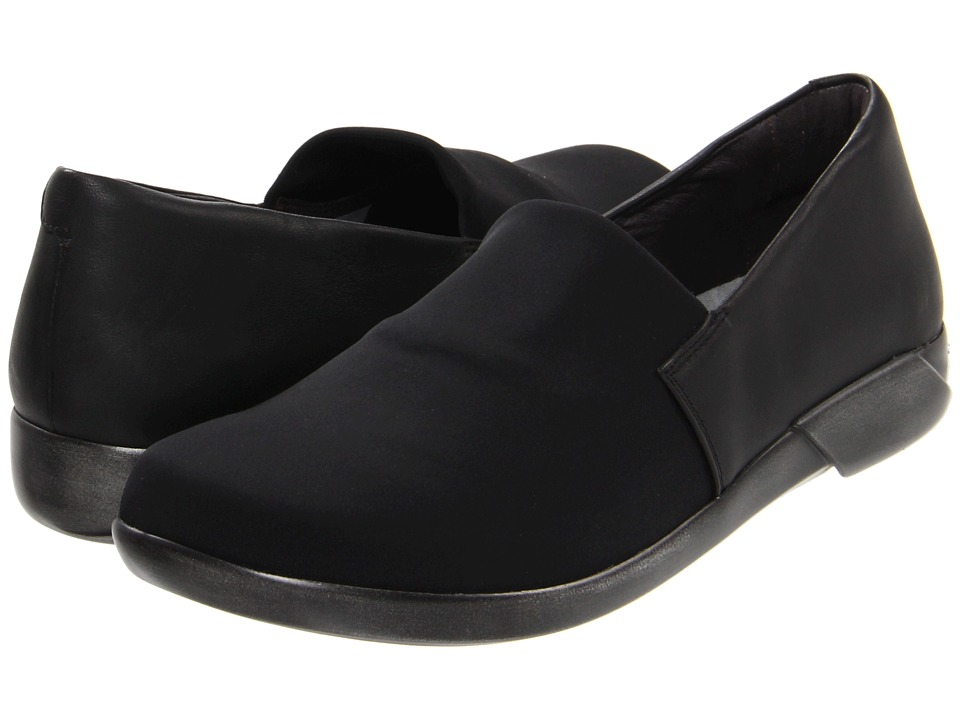 Naot Footwear Abstract Black Stretch/Jet Black Leather Womens Flat Shoes