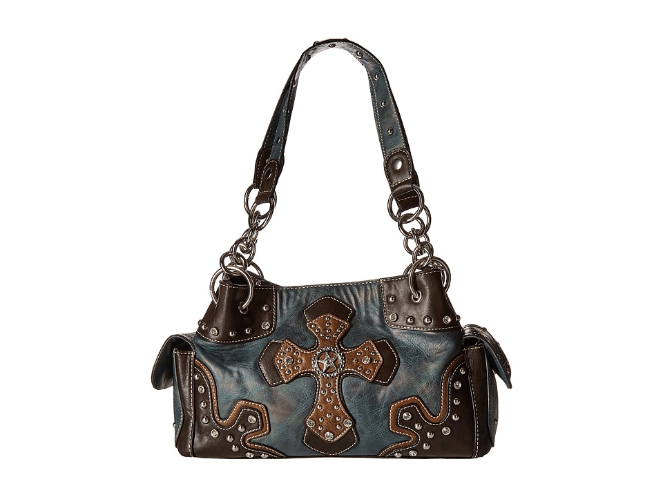 M&F Western - Texas Star With Cross Satchel (Blue) Bags