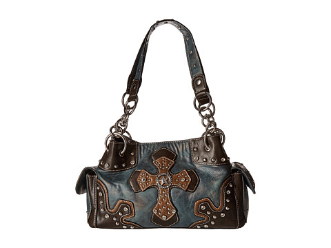 M&F Western Texas Star With Cross Satchel - Blue