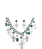 Nocona - Antiqued Turquoise Cross Necklace/Earring Set