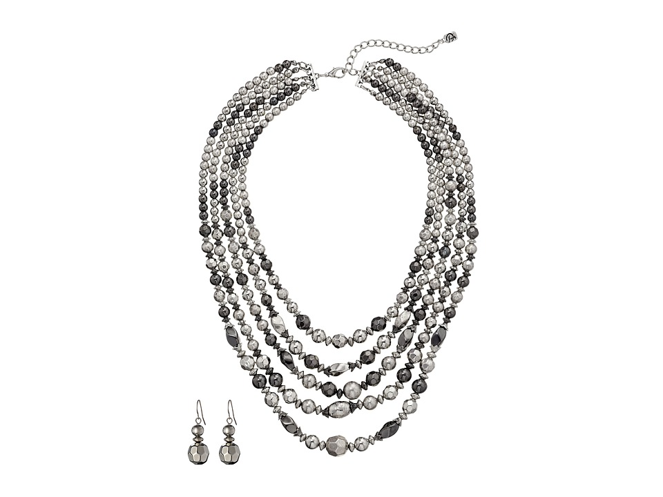 MampF Western 5 Strand Silver Bead Necklace/Earring Set Silver Jewelry Sets