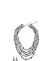 M&F Western - 5 Strand Silver Bead Necklace/Earring Set