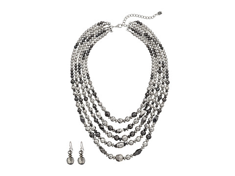 M&F Western 5 Strand Silver Bead Necklace/Earring Set