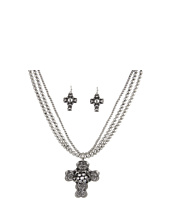 Nocona - Antiqued Heart Cross Necklace/Earring Set