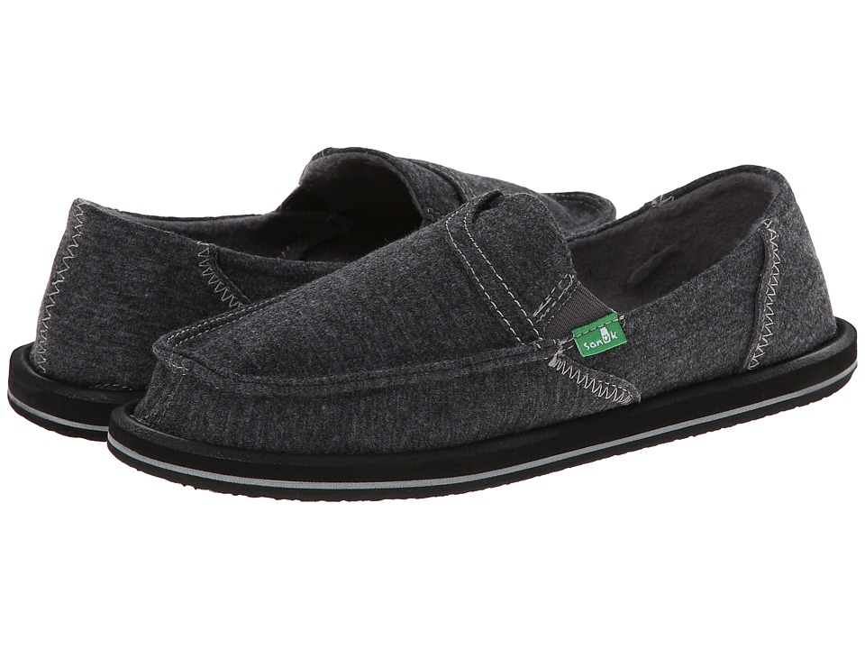 Sanuk - Pick Pocket Fleece (Charcoal) Womens Slip on  Shoes
