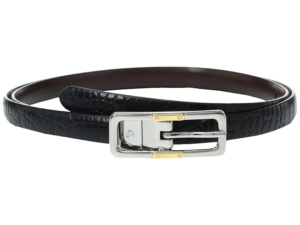 LAUREN Ralph Lauren Croc to Smooth Reversible Belt with Two-Tone Buckle (Black/Dark Brown) Women