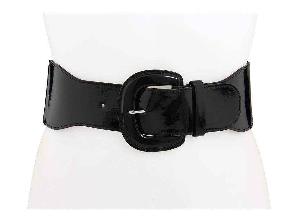 LAUREN Ralph Lauren 3 Patent Stretch Belt (Black) Women