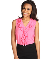 Jones New York - Ruffle Front Sleeveless Shirt