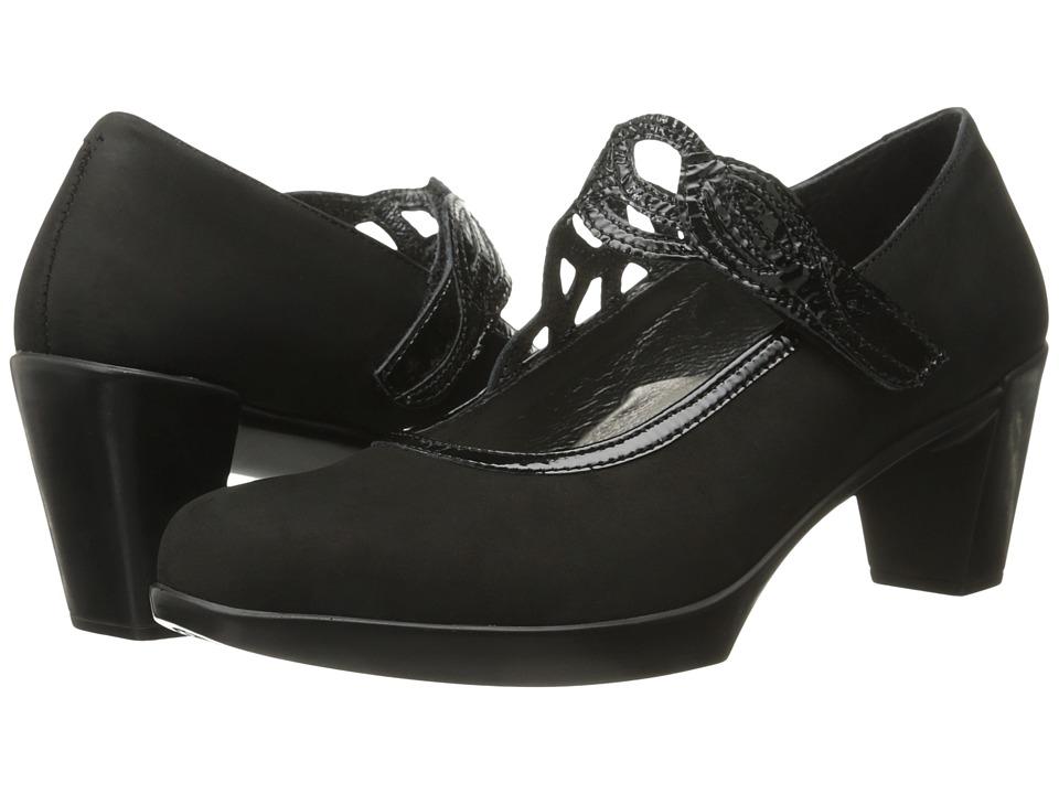 Naot Footwear - Luma (Black Velvet Nubuck/Black Crinkle Patent Leather) Women