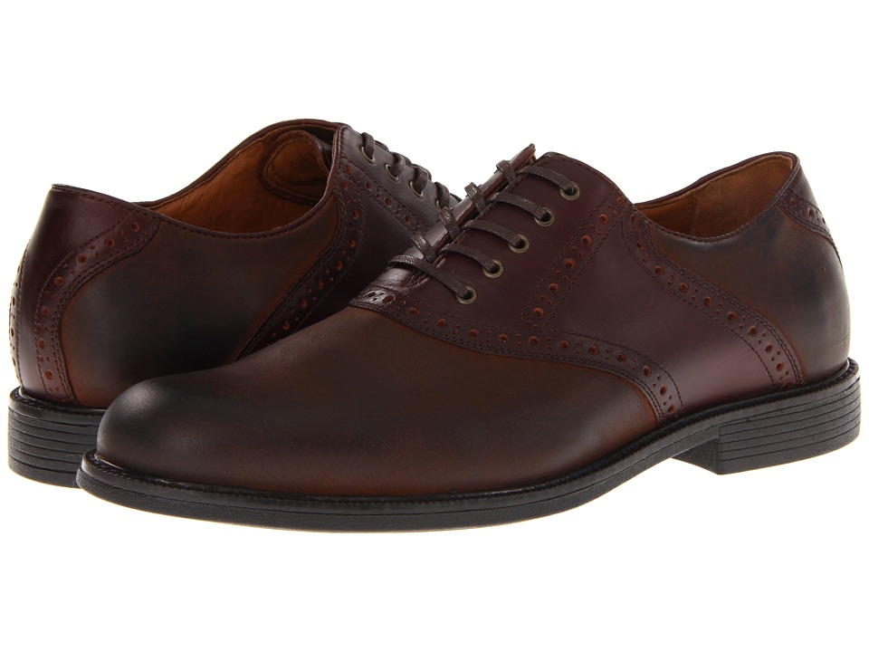 Johnston amp Murphy Cardell Saddle Dark Brown Nubuck Mens Plain Toe Shoes